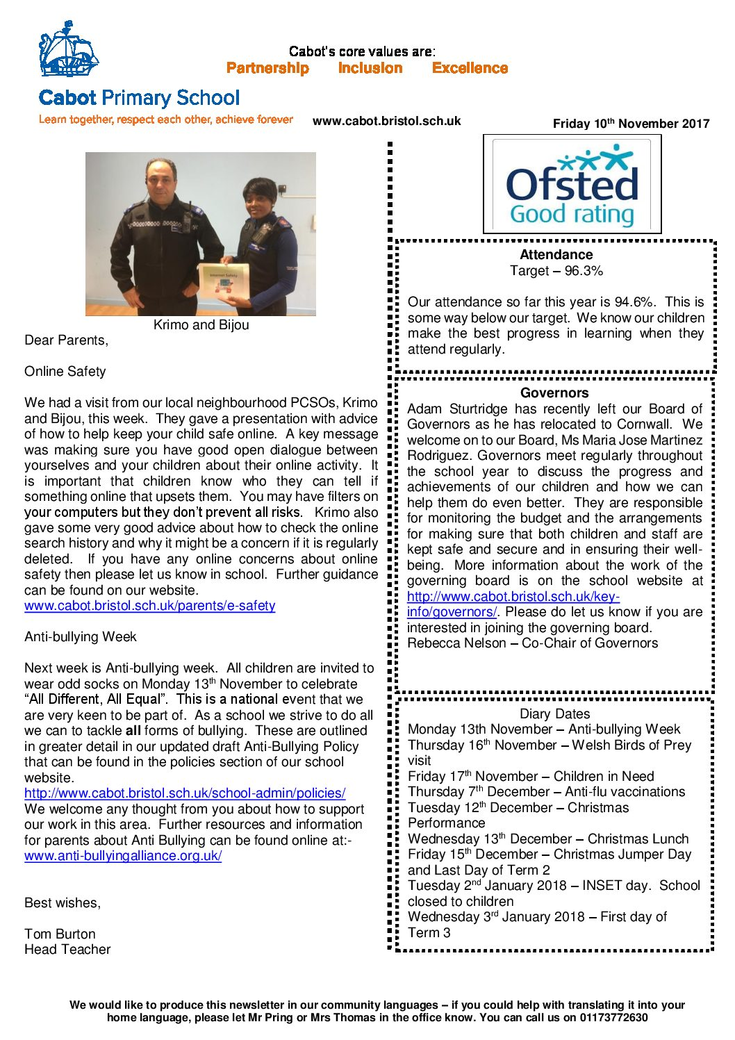 Newsletter No3 - 2017-18 Term 2 | Cabot Primary School